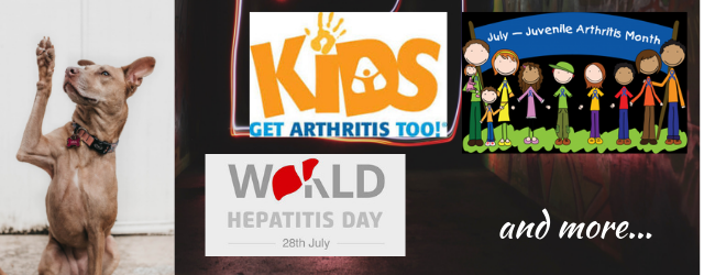 July Awareness Month Did You Know  BoldSoles Cause Calendar - Juvenile Arthritis Awareness - July 28th World Hepatitis Day